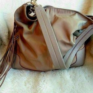 MZ Wallace Nylon Leather Fringe Shoulder Bag Tote